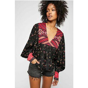 Free People Lady Lou Embroidered Floral  Top M